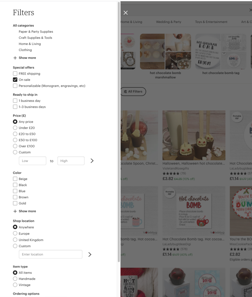 filters-How To Maximise Your Etsy Sales Without Etsy SEO