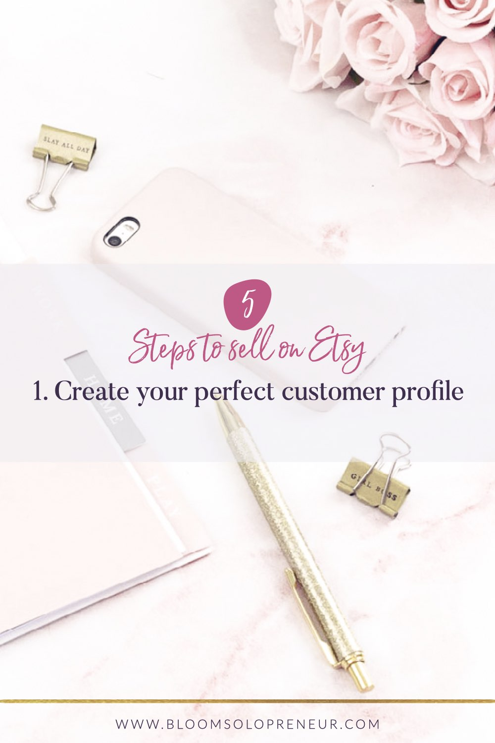 If you want to improve your sales on Etsy follow these 5 steps to create products that sell on Etsy! Step 1 - create a Perfect Customer profiles. Learn how to identify your business niche so you market to them online with confidence and make more money from your craft business. #howtosellonetsy #howtosellonetsy #customerprofiletemplate #handmadebusiness #creativebusiness #bloomsolopreneur