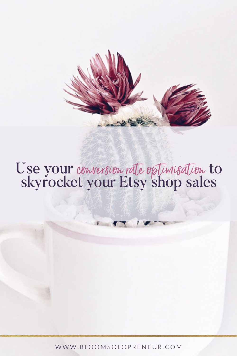 Keeping a close eye on your Etsy conversion rate will help you recognise what you can do to boost your sales in your Etsy Shop with the minimum effort. Tracking your conversion rate may be low down on your priority list when you first start a new online business. The conversion rate is such an invaluable tool to track the success of your creative small business. #howtosellonetsy #handmadebusiness #creativebusiness #bloomsolopreneur #etsyshop #etsyconversionrate
