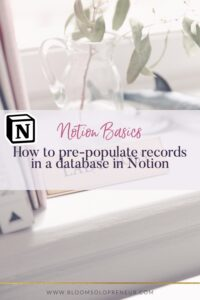 This is part of a video series for the Notion App to create Notion templates. In this video, I'll show you how to pre-populate data items in a database in Notion. I use Notion to help me keep track of EVERYTHING I need to do in my life and business and I can't believe how much it has helped me stay organised and focused on my most important tasks. #bloomsoloprenuer